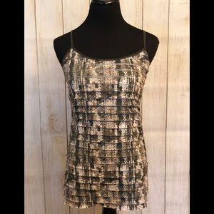 Olive Green and Cream Printed Sequin Ruffle Cami!